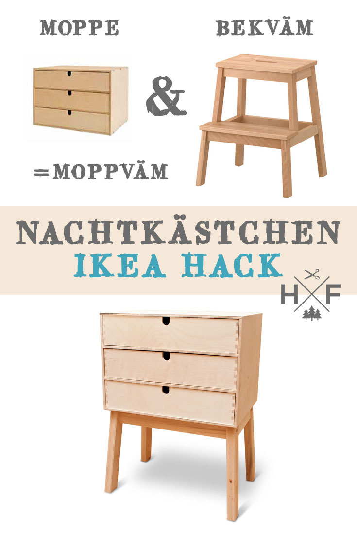 moppv m ein nachtk stchen aus moppe bekv m handgemacht fussgegangen. Black Bedroom Furniture Sets. Home Design Ideas